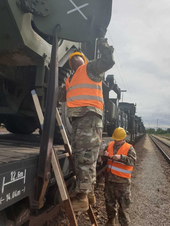 U.S. Army Reserve Sgt. Fabio Gaviria of the 793rd Movement Control Team, 446th Movement Control Battalion, 510th Regional Support Group, 7th Mission Support Command, performs security checks on equipment shipped by rail from Bergen-Hohne to Coleman Barracks, Germany, Sept. 13, 2020.  MCT Soldiers under the 446th tracked more than 2,600 pieces of redeployed equipment to close out their support to DEFENDER-Europe 20 Plus. (U.S. Army Reserve photo by Staff Sgt. Christopher Pelican)