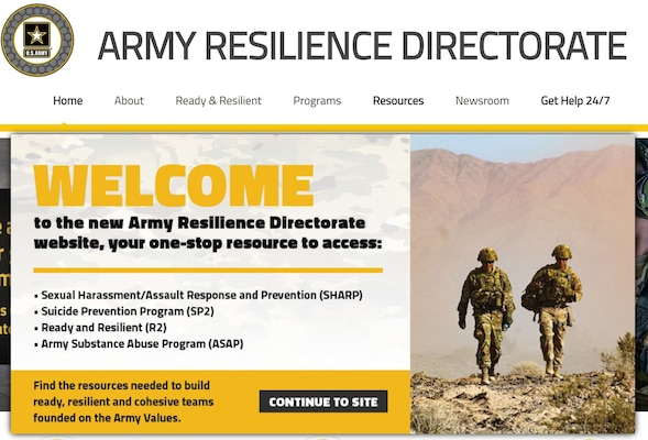 Screenshot of new Army Resilience Directorate website, https://www.armyresilience.army.mil/.