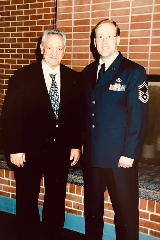 Then Senior Master Sgt. Jack Angelo poses with his father Tony Angelo, at the younger Angelo's retirement ceremony June 2000, at Arnold Air Force Base, Tenn. (Courtesy photo)