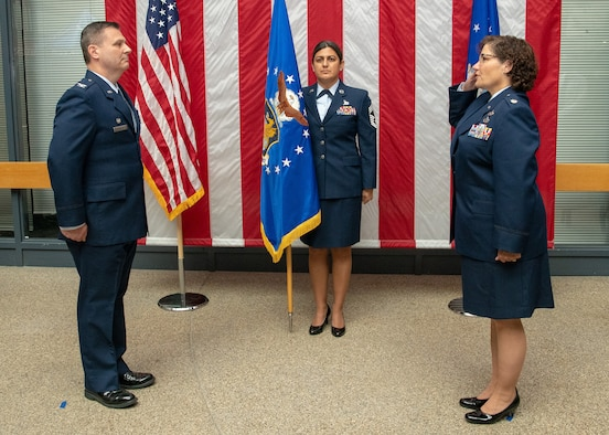 Col. Lee E. Merkle, 349th Air Mobility Wing commander, presides over the assumption of command ceremony for the new 349th Mission Support Group commander, Lt. Col. Gia M. Wilson-Mackey on Sept. 12, 2020 at Travis Air Force Base, Calif.