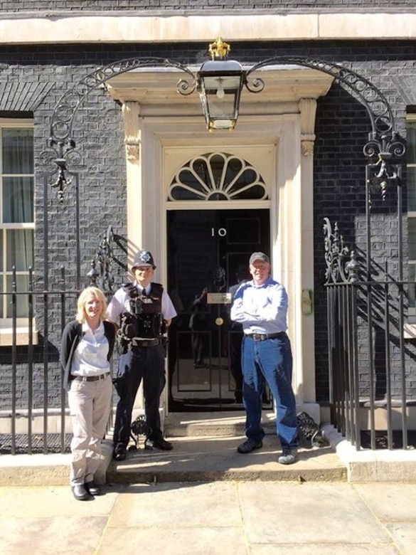 Office of Special Investigations Special Agent Jack Angelo is pictured with his wife at 10 Downing Street, London, during a liaison trip hosted by Scotland Yard. (Courtesy photo)