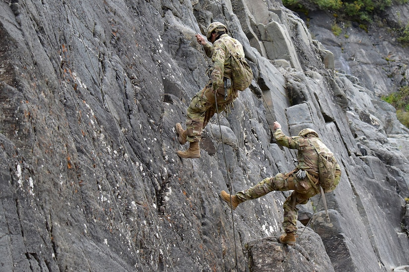 A pair of Advanced Military Mountaineering Course students rappel down a rock face at the Northern Warfare Training Center's Black Rapids Site during training. NWTC cadre followed Coronavirus restrictions while guiding students through both the basic and advanced mountaineering courses in August. With the advent of Alaska's long, cold winter, NWTC's focus is now shifting to cold weather training for the 2020-21 season.