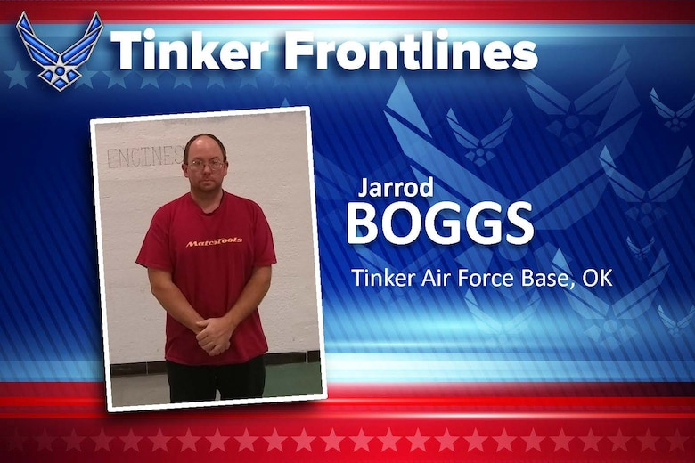 Graphic of Tinker Frontlines with photo of man in red shirt looking into camera