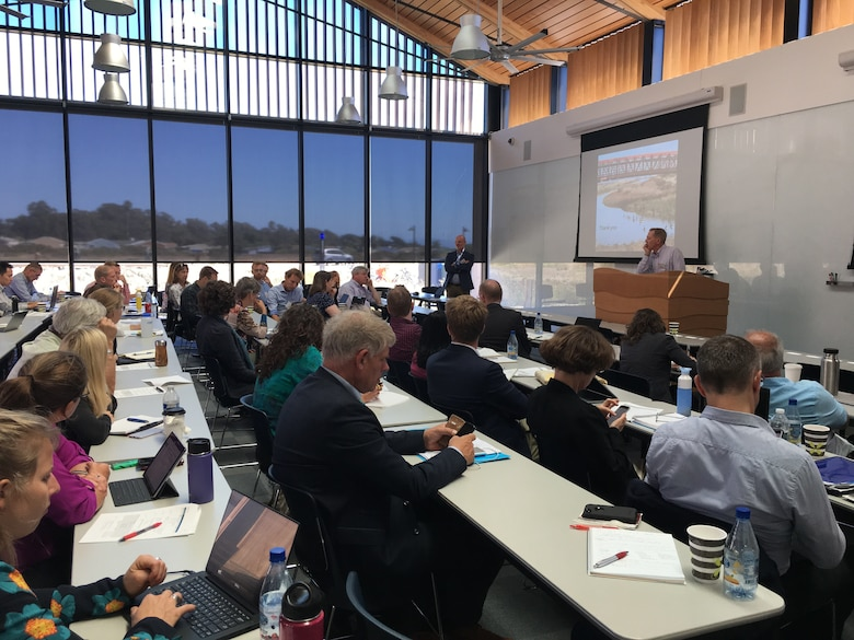 Researchers discuss a USACE-led initiative to develop International Guidelines on the use of Natural and Nature-based Features during a meeting at the University of California, Santa Cruz in September 2018.