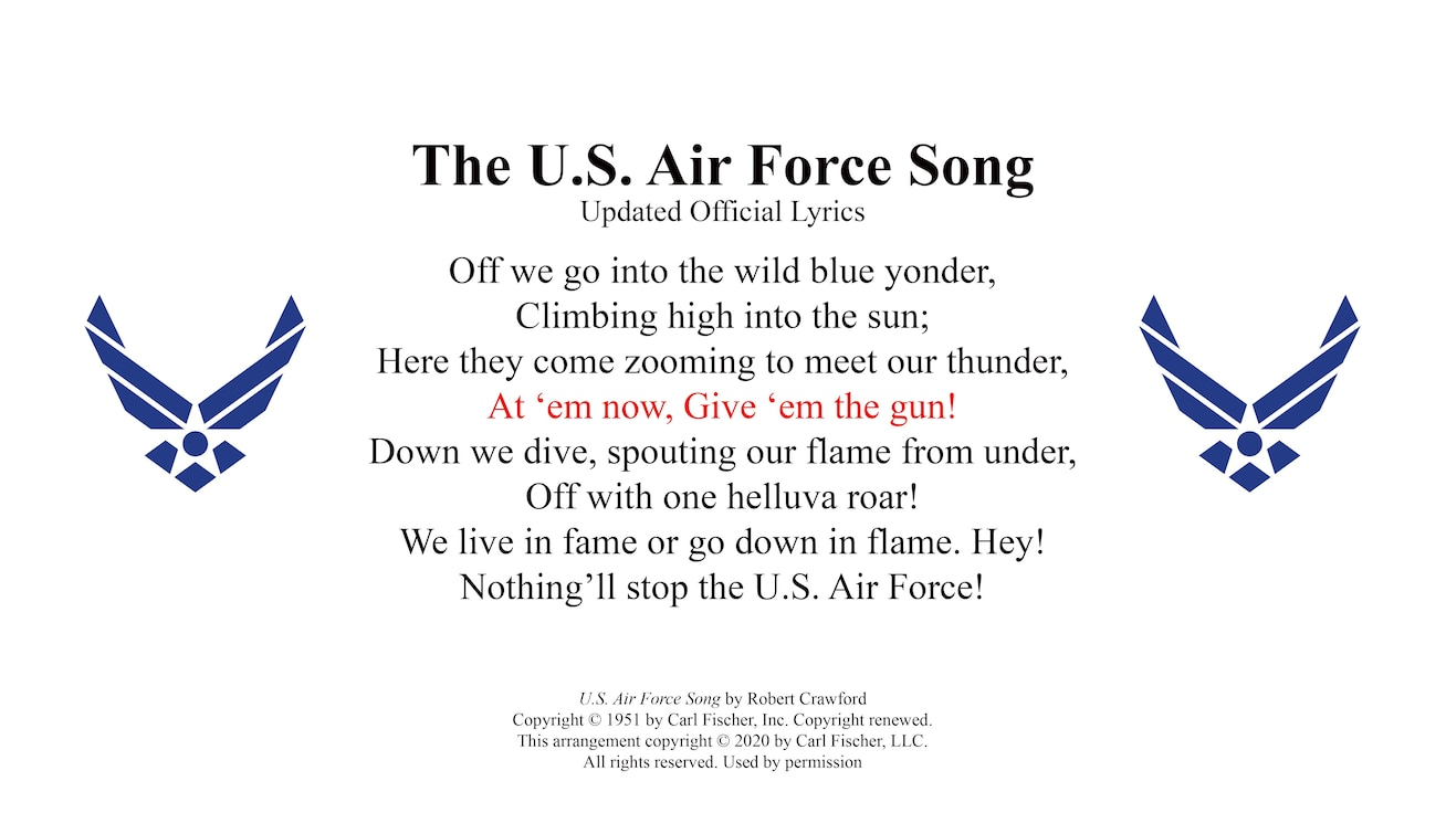 This is a picture of the text to the first verse of the U.S. Air Force Song