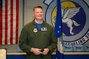 "U.S. Air Force Senior Master Sgt. Marcus Hewett, 6th Air Refueling Squadron superintendent, is the 2019 recipient of the Staff Sgt. Henry E. ""Red"" Erwin Outstanding Career Enlisted Aviator of the Year Award Sept. 18, 2020, at Travis Air Force Base, California. The award recognizes airmen with outstanding accomplishments in the aircrew operations career fields with significant results, major mission impact, demonstration of outstanding leadership and professional qualities, and superior contributions to the roles and missions of the USAF. (U.S. Air Force photo by Chustine Minoda)"