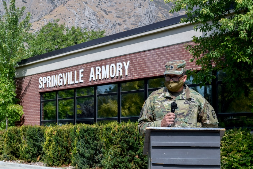 Members of the Utah National Guard who were part of the 489th Brigade Support Battalion became part of the 625th Military Police Battalion during a ceremony at the Springville Readiness Center, Sep. 13, 2020