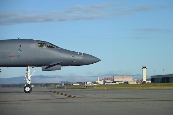 A B-1 Lancer pulls into the runway at Eielson Air Force Base, Alaska.