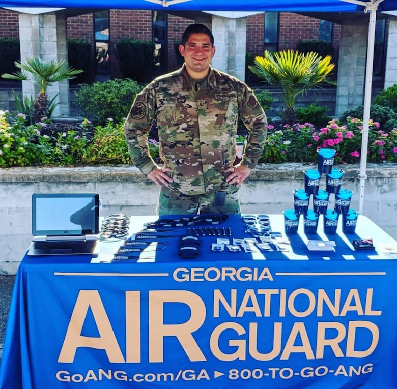 Tech. Sgt. Reza Whitehead, a recruiter with the Georgia Air National Guard, set a modern-day record with 14 accessions in one month to reach the state record in July 2020.