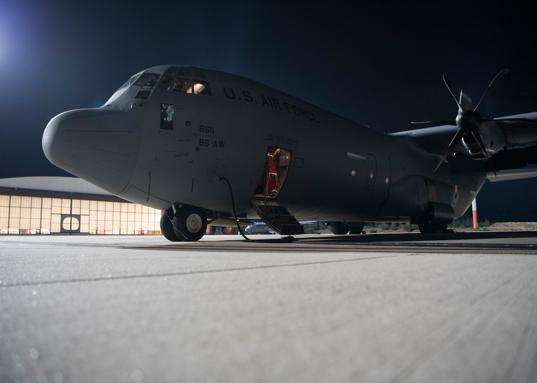A C-130J Super Hercules aircraft assigned to the 37th Airlift Squadron sits on the flight line at Ramstein Air Base, Germany, Sept. 18, 2020.