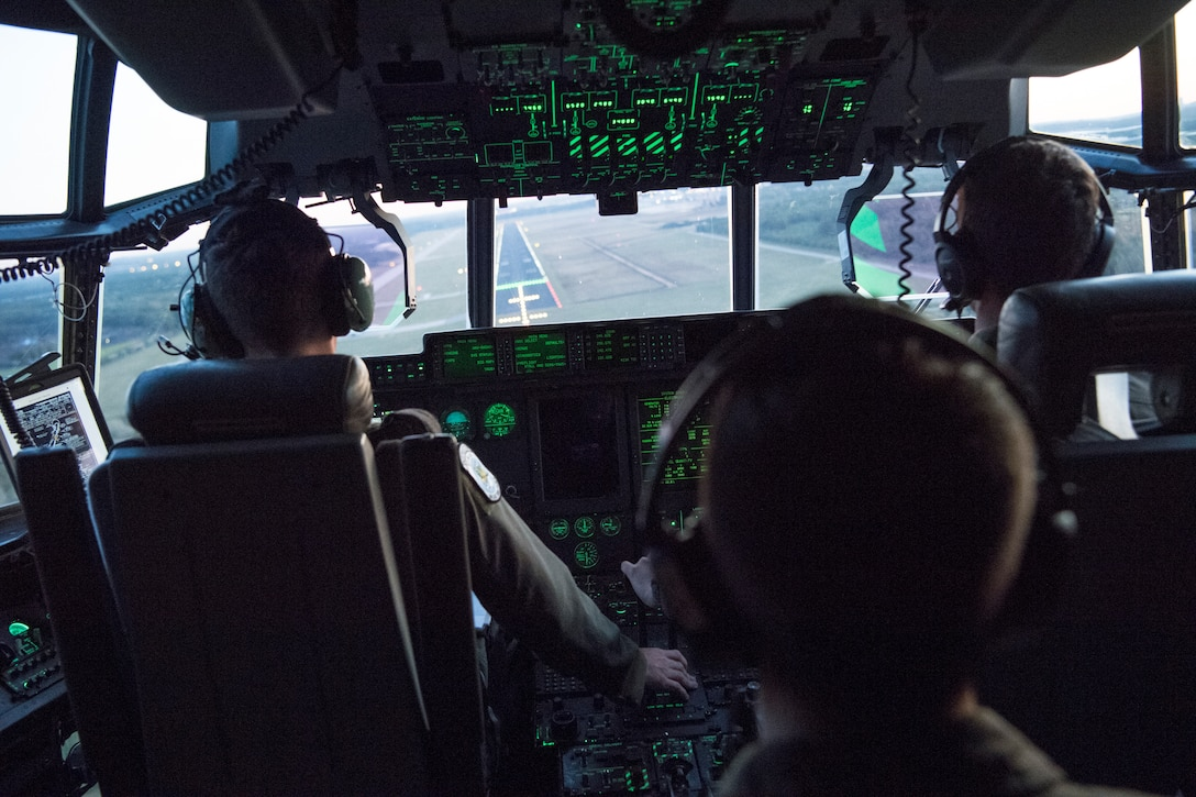 Pilots from the 37th Airlift Squadron prepare to land at Eindhoven Air Base, Netherlands, Sept. 18, 2020