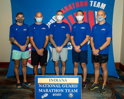 The Indiana National Guard Marathon Team before the National Guard Marathon Team Trials during the Omaha Marathon, Sept. 20, 2020, in Omaha, Nebraska. Indiana was the top National Guard Marathon Team for 2020.