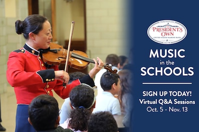 Music in the Schools is an educational program designed for grades K-9, allowing students to experience the music of the Marine Band and interact directly with its musicians. During the fall of 2020, this free resource will be offered nationally as a digital initiative...