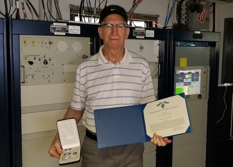 Daniel Holmes, 2d Weather Squadron Det. 2, located at the Sagamore Hill Solar Observatory in Hamilton, Massachusetts, was presented the Award for Civilian Achievement on Sept. 18, 2020 by Col. Patrick Williams, 557th Weather Wing commander, using a remote connection due to COVID-19 traveling restrictions.