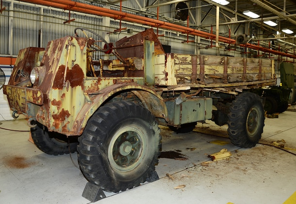 The most recent historic vehicle restoration project undertaken by Production Plant Albany was a World War II era truck that was brought back to its former glory largely with the help of visual aids and 3-D printing. (U.S. Marine Corps photo by Nathan Hanks)