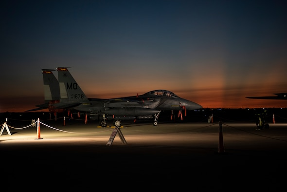 An F-15E Strike Eagle sits on the flightline at Laughlin Air Force Base, Texas, on Sept. 23, 2020. Two teams of pilots flying the F-15E visited Laughlin from Mountain Home Air Force Base, Idaho, to talk with student pilots, first assignment instructor pilots and leaders on the aircrafts' capabilities as well as increase interaction within the fighter pilot community. (U.S. Air Force photo by Senior Airman Marco A. Gomez)