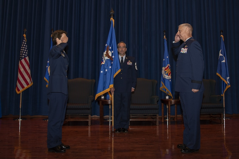 U.S. Air Force Maj. Gen. Mark Camerer assumed command of the U.S. Air Force Expeditionary Center during a change of command ceremony Sept. 23, 2020, at the USAF Expeditionary Center on Joint Base McGuire-Dix-Lakehurst, New Jersey. U.S. Air Force Gen. Jacqueline Van Ovost, Air Mobility Command commander, presided over the ceremony where U.S. Air Force Maj. Gen. John Gordy relinquished command of the USAF Expeditionary Center to Camerer. (U.S. Air Force photo by Master Sgt. Ashley Hyatt)
