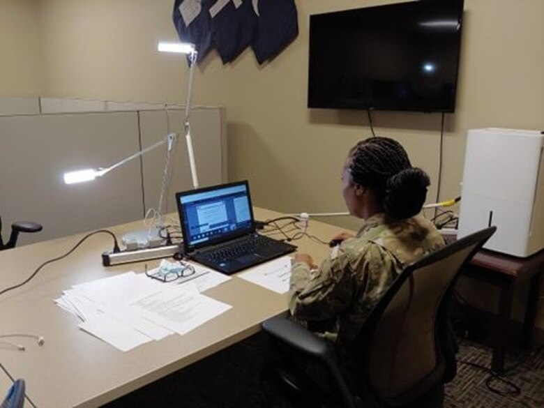 U.S. Army Reserve Staff Sgt. Monika Patterson, religious affairs specialist with the U.S. Army Civil Affairs & Psychological Operations Command, prepares to support mandatory annual Unit Ministry Team (UMT) training for chaplains and religious affairs Soldiers for USACAPOC(A) and its subordinate commands during virtual annual training, Aug. 4 – 7, 2020. USACAPOC(A) ministry teams across the U.S. took part in the advanced UMT training, designed to prepare unit team members with the tools necessary to meet the challenges of working in today's diffused ministry environment, and enable USACAPOC(A) UMT's to meet new USARC ministry standards ahead of schedule. (U.S. Army Photo by Maj. Sean D. Delpech)