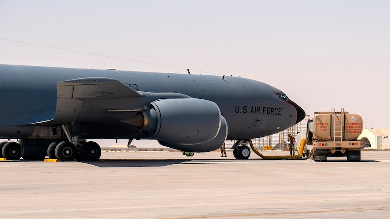 A U.S. Air Force KC-135 Stratotanker aircraft assigned to the 379th Air Expeditionary Wing is refueled during a hot refueling training scenario at Al Udeid Air Base, Qatar, Sept. 21, 2020. Personnel from the 379th Expeditionary Aircraft Maintenance Squadron, 379th Expeditionary Logistics Readiness Squadron and 340th Expeditionary Air Refueling Squadron attended the training. The certification they receive will enable personnel to refuel a KC-135 while one or more engines run.