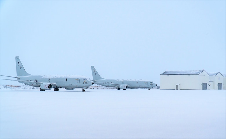 Two P-8A Poseidon maritime patrol and reconnaissance aircraft parked on the apron of Keflavik Air Base, Jan. 2, 2020.