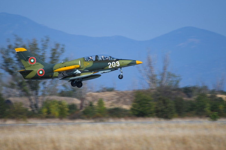 A Bulgarian air force Aero L-39 Albatros takes off during exercise Thracian Viper 20, Sept. 23, 2020, at Graf Ignatievo Air Base, Bulgaria. Thracian Viper 20 is a multilateral training exercise with the Bulgarian air force, aimed to increase operational capacity, capability and interoperability with Bulgaria. Successful partnering activities like this result in progressive relationships and lead to tangible, mutual benefits during peacetime, contingencies and crisis, through actions such as regional security, access and coalition operations. (U.S. Air Force photo by Airman 1st Class Ericka A. Woolever)