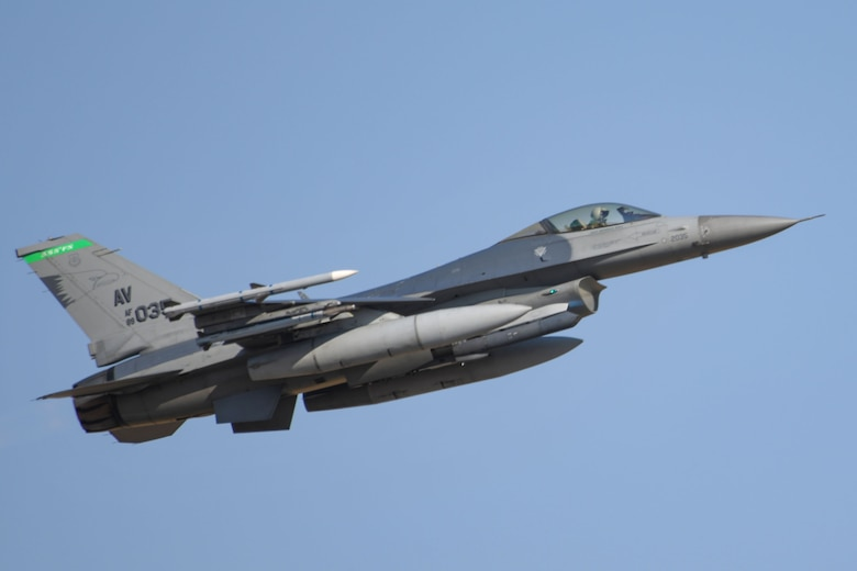 A U.S. Air Force F-16 Fighting Falcon assigned to the 555th Fighter Squadron, Aviano Air Base, Italy, participates in exercise Thracian Viper 20 at Graf Ignatievo Air Base, Bulgaria, Sept. 23, 2020. Thracian Viper 20 is a multilateral training exercise with the Bulgarian air force, aimed to increase operational capacity, capability and interoperability with Bulgaria. Exercises like this enhance their ability to rapidly deploy to a remote location, establish command and control and deliver lethal airpower more effectively and efficiently anywhere in the world. (U.S. Air Force photo by Airman 1st Class Ericka A. Woolever)