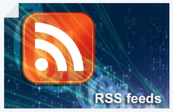 Orange RSS icon on a blue background