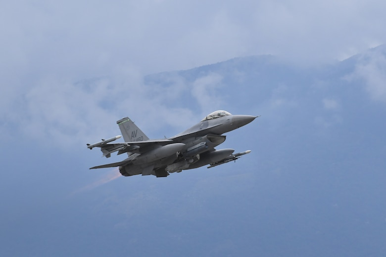 A U.S. Air Force F-16 Fighting Falcon assigned to the 555th Fighter Squadron takes off from Aviano Air Base, Italy, Sept. 24, 2020. The F-16 participated in exercise Brave Warrior 20 which demonstrates the strength and interoperability of NATO's alliance through focused close air support and logistics engagements between Hungarian, Slovakian, and Romanian coalition ground forces.
