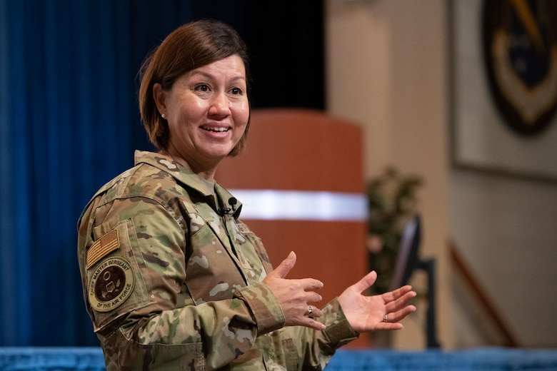 Chief Master Sgt. of the Air Force JoAnne S. Bass speaks with Air University students and staff Sept. 24, 2020, on Maxwell Air Force Base, Alabama. During her visit, Bass discussed the current climate of the force and her priorities; people, readiness and culture. (U.S. Air Force photo by William Birchfield)