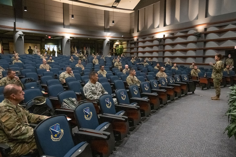 Chief Master Sgt. of the Air Force JoAnne S. Bass speaks with Air Force First Sergeant Academy students Sept. 24, 2020, on Maxwell Air Force Base, Alabama. During her visit, Bass emphasized the tremendous influence first sergeants have on the culture of their units. (U.S. Air Force photo by Trey Ward)