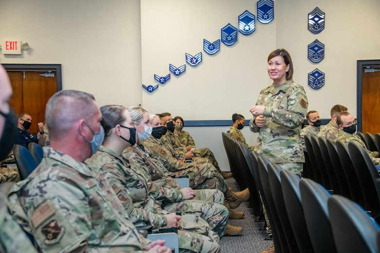 Chief Master Sgt. of the Air Force JoAnne S. Bass speaks at the Air Force Senior Noncommissioned Officers Academy Sept. 24, 2020, on Maxwell Air Force Base, Alabama. During her visit, Bass discussed the current climate of the force, the role of first sergeants and her priorities; people, readiness and culture.(U.S. Air Force photo by Trey Ward)