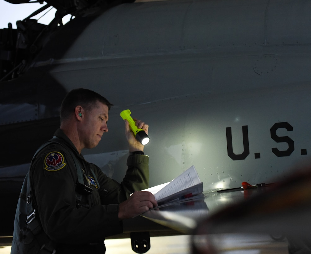 U.S. Air Force Lt. Col. David Easterling Jr., 43rd Flying Training Squadron instructor pilot, conducts a pre-flight check on September 23, 2020, at Columbus Air Force Base, Miss. Air Education and Training Command is the primary user of the T-38 for joint specialized undergraduate pilot training. (U.S. Air Force photo by Airman 1st Class Davis Donaldson)