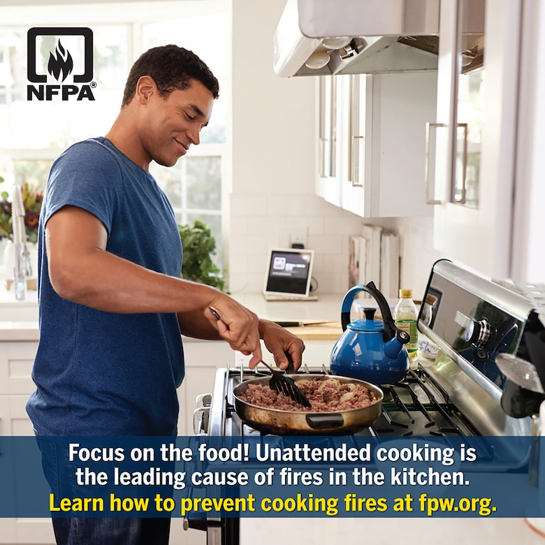 """Joint Base San Antonio Fire Emergency Services is teaming up with the National Fire Protection Association, or NFPA – the official sponsor of Fire Prevention Week for more than 90 years —to promote this year's Fire Prevention Week campaign titled """"Serve Up Fire Safety in the Kitchen!"""""""