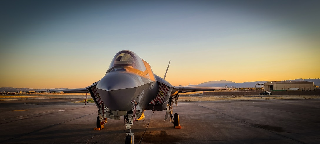 An F-35B assigned to Marine Fighter attack Squadron 211, Marine Aircraft Group 13, 3rd Marine Aircraft Wing participating in Exercise Red Flag 20-3, is parked at Nellis Air Force Base, Las Vegas, Aug. 12.