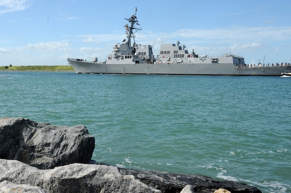 The Navy's newest guided-missile destroyer, the future USS Delbert D. Black (DDG 119), arrives at Port Canaveral, Fla.