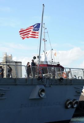 The Navy�s newest guided-missile destroyer, the future USS Delbert D. Black (DDG 119), arrives at Port Canaveral, Fla. T