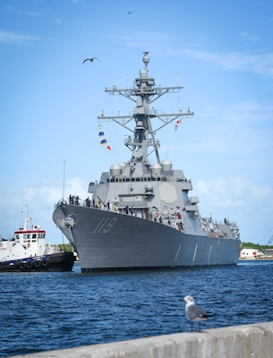 The Navy�s newest guided-missile destroyer, the future USS Delbert D. Black (DDG 119), arrives at Port Canaveral, Fla.