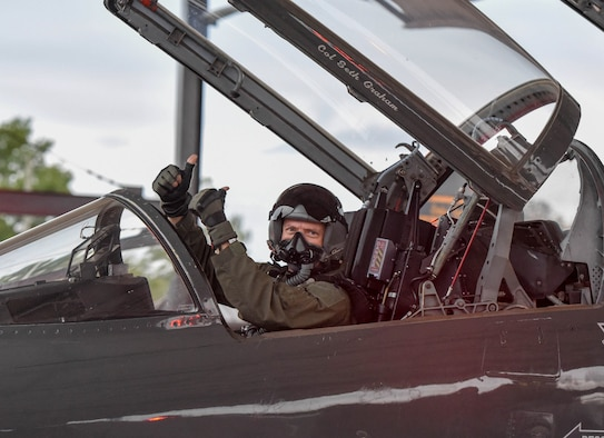 U.S. Air Force Lt. Col. David Easterling Jr., 43rd Flying Training Squadron instructor pilot, gives a thumbs up in the cockpit of a T-38 Talon on September 23, 2020, at Columbus Air Force Base, Miss. The T-38 can reach a speed of up to 912 mph. (U.S. Air Force photo by Airman 1st Class Davis Donaldson)