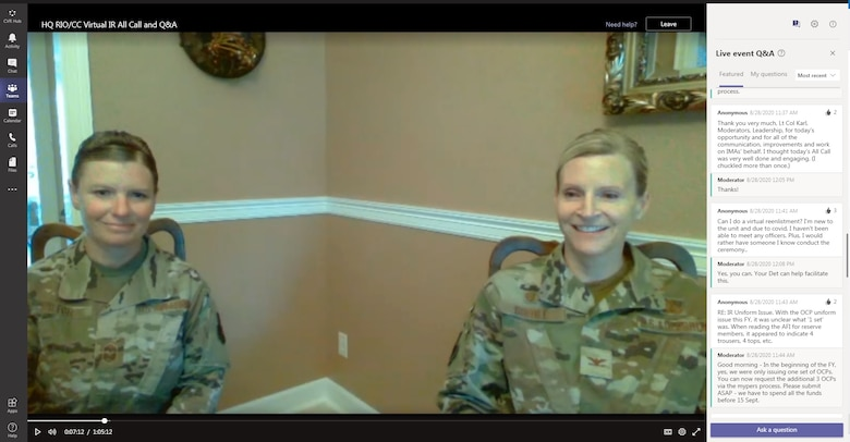 Chief Master Sgt. Stacy Wilfong, Headquarters Readiness and Integration Organization command chief, and Col. Amy Boehle, HQ RIO commander, speak to members during a virtual all-call in August. This was the first all-call for the Individual Reservists of HQ RIO and was streamed live for more than 450 attendees. (Courtesy photo)