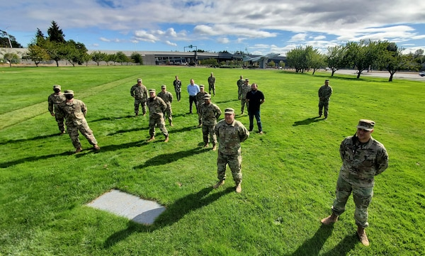 Ten members of the Washington National Guard, shown at Camp Murray, Wash., Sept. 22, 2020, took part in the Cyber Shield 2020 virtual cybersecurity exercise involving more than 800 National Guard Soldiers and Airmen from around the United States.