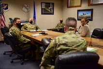 U.S. Air Force Col. David Berkland, the 354th Fighter Wing commander, and Chief Master Sgt. Michael Zeigler, the 354th Logistics Readiness Squadron vehicle management flight chief, meet with the 354th Comptroller Squadron (CPTS) leaders during a wing leadership immersion at Eielson Air Force Base, Alaska, Sept. 22, 2020.