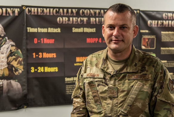 Master Sergeant Kevin Morgan, emergency management specialist with the 932nd Airlift Wing Civil Engineering Squadron poses for a photo on Scott Air Force Base, Illinois, August 27, 2020. Morgan spoke about how he enjoys being apart of EM and instructing CBRN course to keep Airmen ready to deploy. (U.S. Air Force photo by SrA. Brooke Spenner)