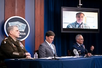 """Senior Enlisted Advisor to the Chairman (SEAC) Ramon """"CZ"""" Colon-Lopez speaks during a virtual town hall at the Pentagon, Sept. 24, 2020. Colon-Lopez, joined by Secretary of Defense Mark T. Esper and Army Gen. Mark A. Milley, chairman of the Joint Chiefs of Staff, answered questions asked by service members, their families, DOD civilians and the American public about the department's COVID-19 response and diversity and inclusion. (DOD Photo by Navy Petty Officer 1st Class Carlos M. Vazquez II)"""