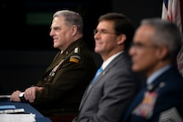 """Secretary of Defense Mark T. Esper, Army Gen. Mark A. Milley, chairman of the Joint Chiefs of Staff, and Senior Enlisted Advisor to the Chairman (SEAC) Ramon """"CZ"""" Colon-Lopez host a virtual town hall at the Pentagon, Sept. 24, 2020. The Defense Department leaders answered questions asked by service members, their families, DOD civilians and the American public about the department's COVID-19 response and diversity and inclusion. (DOD Photo by Navy Petty Officer 1st Class Carlos M. Vazquez II)"""