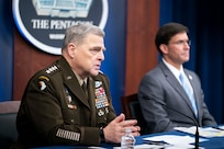 """Army Gen. Mark A. Milley, chairman of the Joint Chiefs of Staff, speaks during a virtual town hall at the Pentagon, Sept. 24, 2020. Milley, joined by Secretary of Defense Mark T. Esper and Senior Enlisted Advisor to the Chairman (SEAC) Ramon """"CZ"""" Colon-Lopez, answered questions asked by service members, their families, DOD civilians and the American public about the department's COVID-19 response and diversity and inclusion. (DOD Photo by Navy Petty Officer 1st Class Carlos M. Vazquez II)"""