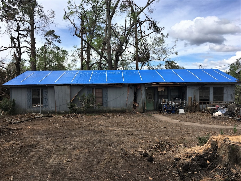 IN THE COLLAGE, Southwest Louisiana homeowner and blue roof recipient Brennon Williams' home after the blue roof installation. Williams' home was one of 3,730 to receive a blue roof during Hurricane Laura recovery efforts. (Courtesy photos)