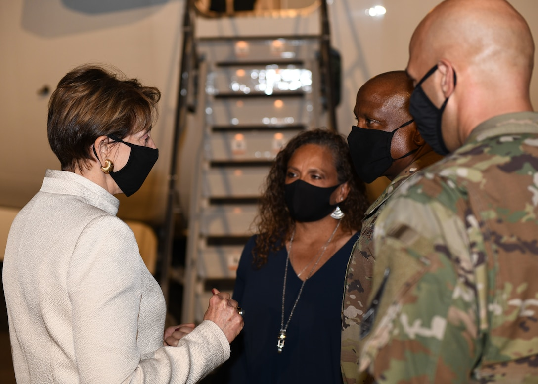 Secretary of the Air Force Barbara Barrett speaks with Col. Devin Pepper, Buckley Garrison commander, and Chief Master Sgt. Robert Devall, Buckley Garrison command chief, prior to her departure from Buckley Air Force Base, Colo., on Sept. 23, 2020.