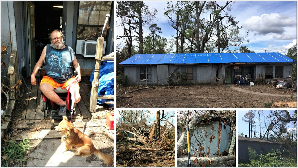 IN THE COLLAGE, photos of southwest Louisiana homeowner and blue roof recipient Brennon Williams and his home both before and after the blue roof installation. Williams' home was one of 3,730 to receive a blue roof during Hurricane Laura recovery efforts. (Courtesy photos)