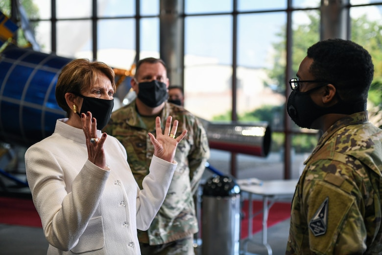 The Secretary of the Air Force Barbara Barrett speaks to Capt. Christopher Billups, Space Delta 4 executive officer, Sept. 23, 2020, at DEL 4's Mission Control Station on Buckley Air Force Base, Colo.