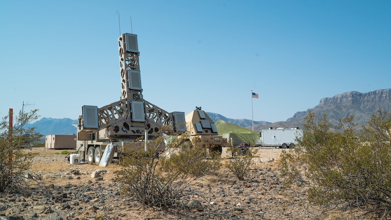 A prototype fire control radar, used to track threats and pass information to weapons designed to take down the target, is being tested during the Advanced Battle Management Systems Onramp 2 at White Sands Missile Range, N.M., Aug. 27, 2020. The Advanced Battle Management System is an interconnected battle network - the digital architecture or foundation - which collects, processes and shares data relevant to warfighters. (U.S. Air Force photo by Senior Airman Daniel Garcia)
